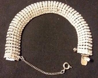 Large Vintage Designer Signed Hattie Carnegie Hollywood Glamour Recency Rhinestone Bracelet Jewelry
