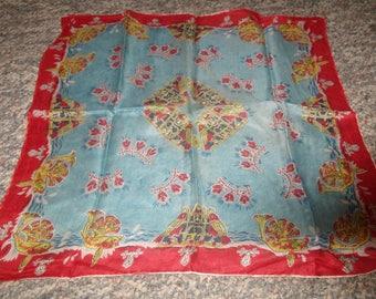 vintage ladies head neck scarf red blue oriental design silk
