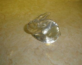 vintage bunny rabbit glass paperweight heavy bubbles
