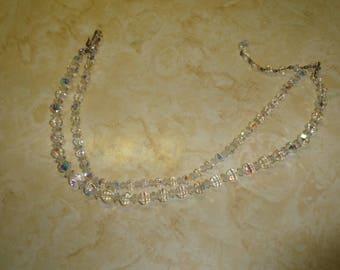 vintage necklace double strand aurora borealis glass