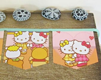 Hello Kitty Birthday Bunting - Party Decor Nursery Cute - Kittens Cat Kawaii For Kids