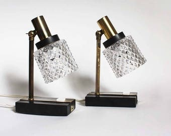 Pair of vintage Table Lamps, Midcentury Modern, bedside accent lamps, black gold lamps, Danish lights, wood, clear crystal glass