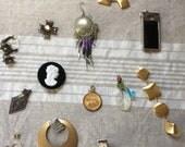 Destash Lot Vintage Jewelry Bits & Pieces, Junk Drawer, Treasures, Retro earrings, Mixed Media
