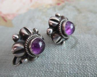 vintage sterling silver earrings - amethyst, screw back