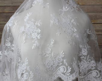 White Lace Fabric with Allover Embroidery with scalloped eyelash edges on both sides. Bridal Wear, edging sleeves,  bodices on your gown,