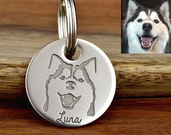 Custom Pet Portrait Pet Tag, Pet Artwork Pet ID Tag, Double Sided Pet Tag, Engraved Stainless Steel Pet Tag, Dog ID Tag -Made in USA