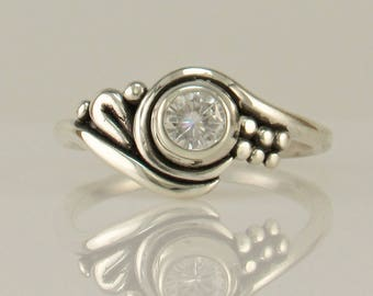 R1132- Sterling Silver Moissanite Ring- One of a Kind