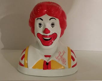 Vintage Ronald McDonald Bank Autographed Clown Red Yellow Costume 1993