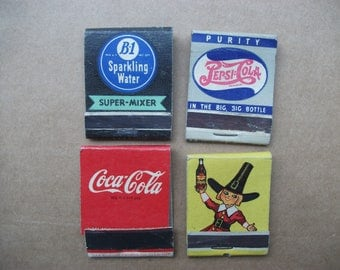 Vintage Coke, Pepsi, B1 Soda, Dr. Swells Rootbeer Matchbook Covers 1940's - 50's, Vintage advertising art matchbooks