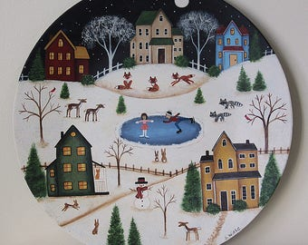 Winter Folk Art Painting Plate, Christmas Landscape, Rustic Village, Skating Pond, Red Barn, Saltbox Houses, Cats, Dogs, Fox, MADE TO ORDER
