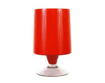 Vintage 1960s Orange and White Art Glass Vase (E8514)
