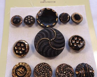 Black glass vintage buttons with gold lustre (Ref D209)