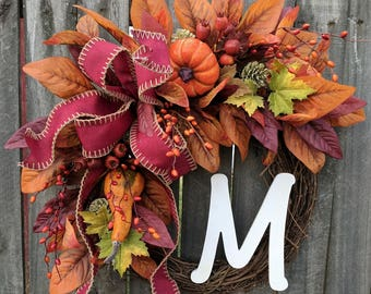 Wreaths fall wreath autumn wreath monogram wreath pumpkin gourd wreath front door wreath fall berries Thanksgiving fall door wreaths