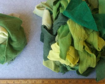 Cashmere Recycled Remnants - Light Green to Lime Green for DIY Crafts and Projects - 16 oz. Bundle Size