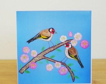 Goldfinch Greetings Card, Bird Card, Recycled Card, Art Card
