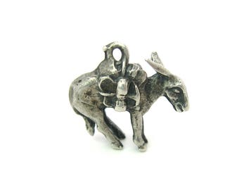 Pack Mule Charm. Sterling Silver 3D Animal Pendant. California Gold Rush Donkey Horse. Pick Axe, Bed Roll. Vintage 1950s American Jewelry