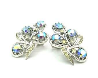 Ear Climber Earrings. Coro, Made in England. Aurora Borealis, Ice Crystal Rhinestones. Large Silver Tone, Tear Drop Clusters. Vintage 1950s
