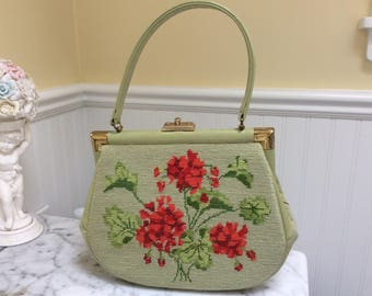 Vintage Needlepoint Floral Red And Sage Hand Bag