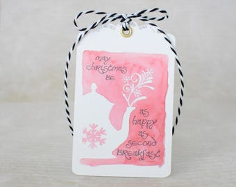 Handmade Gift Tags Set of 3 - May Christmas be as happy as Second Breakfast- Watercolor print with Ribbon- Lord of the Rings/Hobbit Inspired