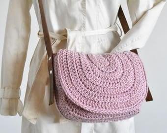 Pink messenger saddle bag woman purse crochet handbag crossbody bag genuine leather strap messenger bag women shoulder bag pink everyday bag