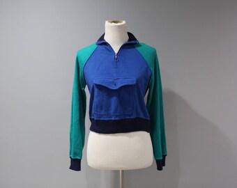 Vintage Womens Flannel Sweatshirt Blue Green Tones Size Medium Cropped