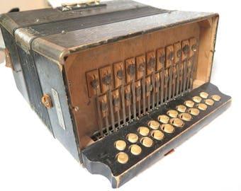 Antique M. Hohner Steel Reeds Squeeze Box