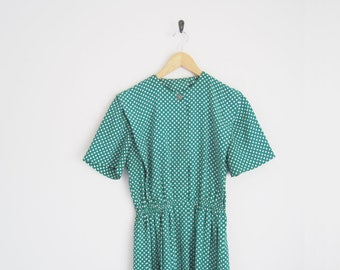 Vintage 90s Dress. Green Floral Print Dress. Button Dress with Pleated Skirt. Pleated A Line Dress. Short Sleeves.