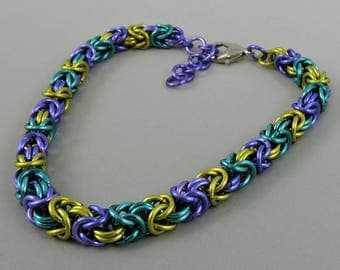 Chainmail Bracelet, Chainmaille Mardi Gras Byzantine, Chainmaille Bracelet, Byzantine Bracelet, Chain Mail Jewelry