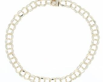 "Double Curb Chain Bracelet 7 3/4"" - 10k Yellow Gold Starter Charm U1946"