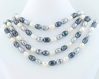 """Freshwater Pearl Strand Necklace Gray White Beaded Statement 72"""" Poly1108"""