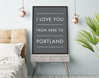 Portland Oregon Art Print, Gift for Men, I Love You From Here To PORTLAND, Shown in Dark Gray Travel Poster