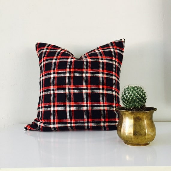 Black Vintage Plaid Red White Striped Wool Blend Fall Winter Decor Vintage Grey Backing Scottish Plaid