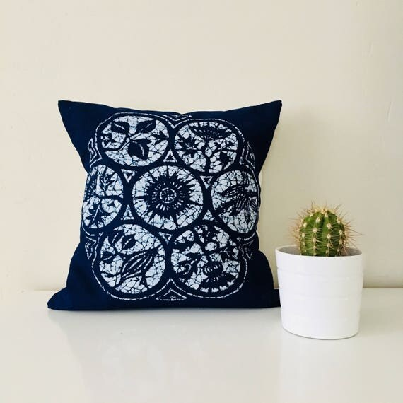 "Boho lndigo Batik Pillow Cover 18""x18"" Square Cushion Pillow Ethnic Bohemian Blue Tie Dye Decorative Bohemian Pillow"