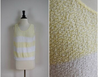 Summer Sale Vintage pale yellow and white striped knit tank / retro sleeveless sweater