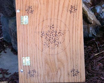 Wood Burned Book of Shadows with Pentacle Rings and Celtic Knots