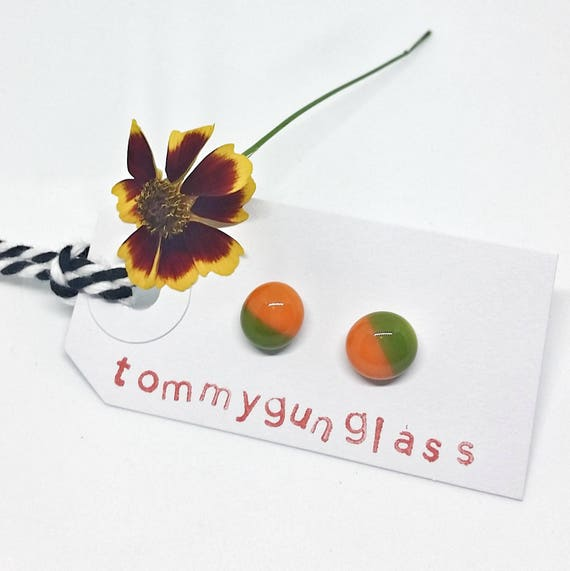 Olive and Orange Glass Stud Earrings