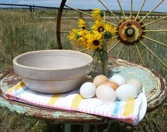 Rustic Beige Stoneware Mixing Bowl Primitive Bowl Farmhouse Kitchen