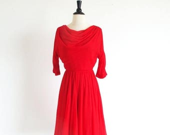 1/2 Off SALE Vintage 50s Red Chiffon Dance Party New Look Full Skirt Dress