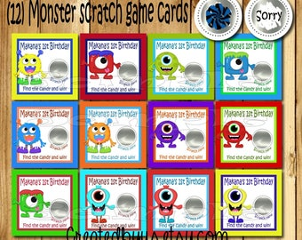 Monster Birthday Party game Birthday Scratch Off Cards Scratch off game cards Party Scratch off ticket Monster games 12 Precut printed