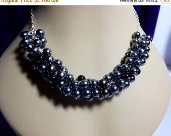 30% OFF SALE thru Mon Black and Gray Pearl Cluster Necklace, Bridesmaid Mothers Day Mom Sister Grandmother Wedding Birthday Jewelry Gift, Co