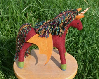 Carnival Royale Pegacorn ~ Wool Felt Fantasy Plush, Handcrafted Eco Friendly Stuffed Animal Toy, Natural Kids Gift, Waldorf Unicorn Pegasus
