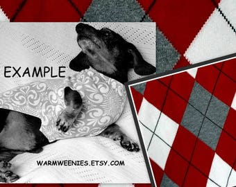 Red Argyle Dachshund Christmas Sweater Custom Sewn of Cotton Knit Fabric