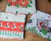 Collection Of Vintage Christmas Linens, Christmas Table Cloth, Vintage Christmas Apron, Vintage Christmas Table Runner