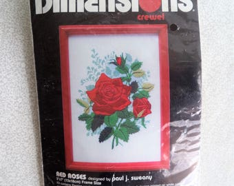Red Roses Dimensions kit/ Vintage crewel embroidery kit/ roses stitch kit/ 1989 kit design by Paul J. Sweany