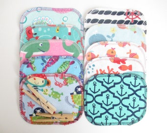 Reusable Cloth Wipes--Mini Size--Makeup Removal--Set of 10--Ocean Mix--Ready to Ship