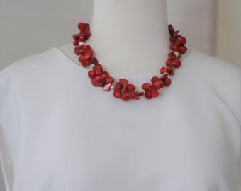 Bib Necklace, Chunky Necklace, Coral and pearl Necklace, Red Coral Necklace,  Short red and white Necklace, Gift for Her, Summer Necklace,