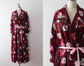 vintage 1940s robe // 40s burgundy floral dressing gown in larger size