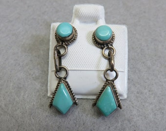 Native American Sterling Silver Turquoise Pierced Earrings, Vintage Turquoise Earrings