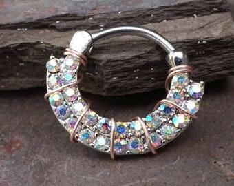 Aurora Borealis Daith Piercing Rook Earring Hoop Silver Clicker