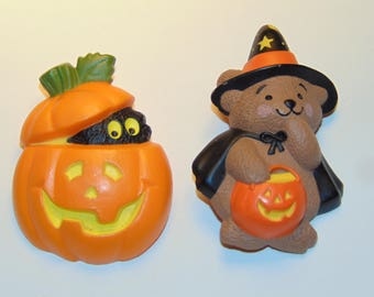 Vintage Hallmark Cards Halloween Lapel Pins Jewelry Pumpkin Jack-O-Lantern Teddy Bear Witch Brooches 1980s